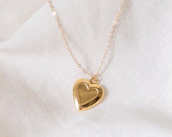 Gold Vintage Dainty Love Heart Locket - 18k Gold Filled Chain - Minimal Bridesmaids Birthday Valentines Jewellery