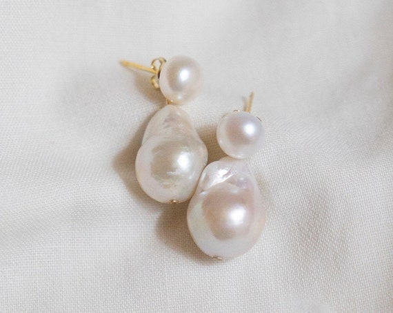 Pim Pearl Stud and Drop Earrings - Irregular Shape Freshwater Baroque Pearls - 7mm pearl studs - removable 16mm fireball pearls