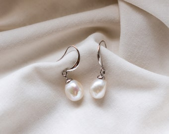 Audrey Baroque Pearl Earrings in Silver