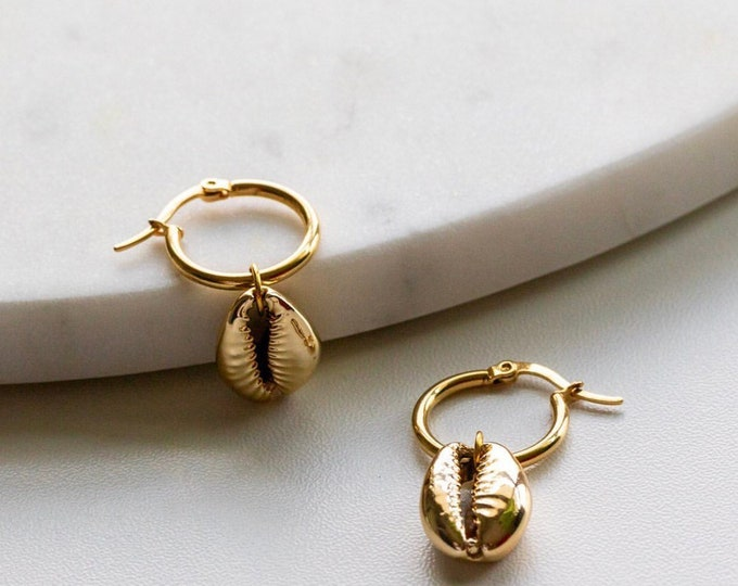 Gold dipped cowrie shell hoop earrings - Hypoallergenic -Jewellery - Bridesmaids Gift - Stocking fillers
