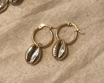 Clara Gold Dipped Cowrie Hoops