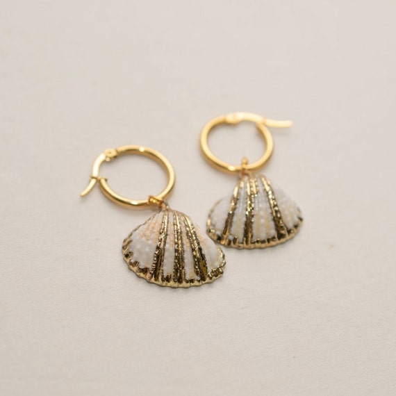 Gold and White Seashell Earrings