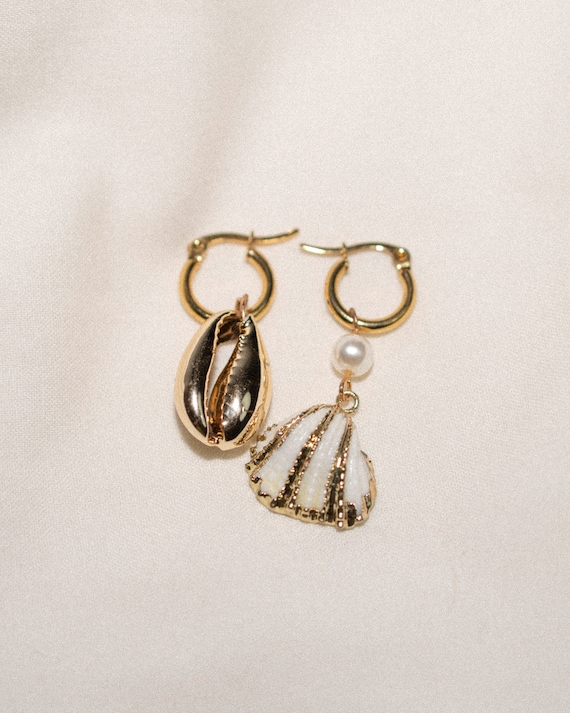 White scallop shell earrings with on stainless steel gold small hoops - mix n match earrings - gold cowrie shell - 14mm plain hoop huggies