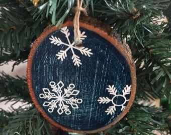 Snowflakes  Rustic Ornament