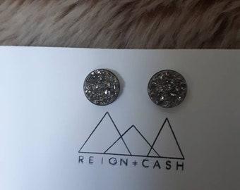 Gunmetal grey faux druzy earrings