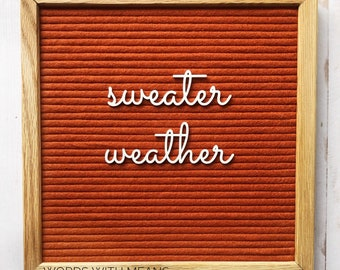 Sweater Weather Cutesy Cursive, sweater weather sign, letterboard accessories, fall letterboard, winter letterboard, sweater letterboard