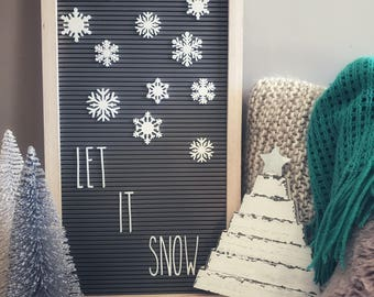 Snowflakes Set for Letterboards and Feltboards, Winter Letterboard, Christmas Letterboard, Letterboard Accessories
