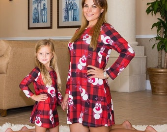 christmas family matching dresses plaid dress flannel dress holiday dress girl winter dress mommy and me outfit christmas dresses