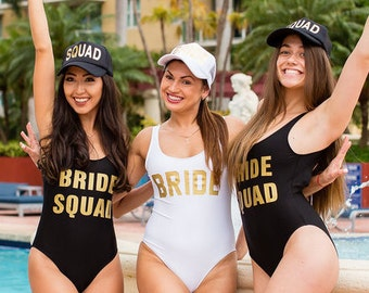 01c4d2ef7f Bride Squad One Piece Swimsuit-Bachelorette Bathing Suit-Bride Bathing Suit-Bride  Swim-Squad Swimsuit-Bachelorette Party Bathing Suits