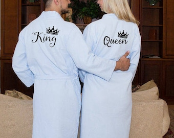 d000316dcc King and Queen Bath Robes Couple Robes Mr. Mrs. Robes His Her s Personalize  Robes Honeymoon Gift Name Wedding Gifts Gift for Groom
