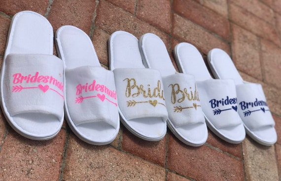 393d51287e9 SALE Personalised Wedding Slippers, Bridesmaid Slippers, Bride ...