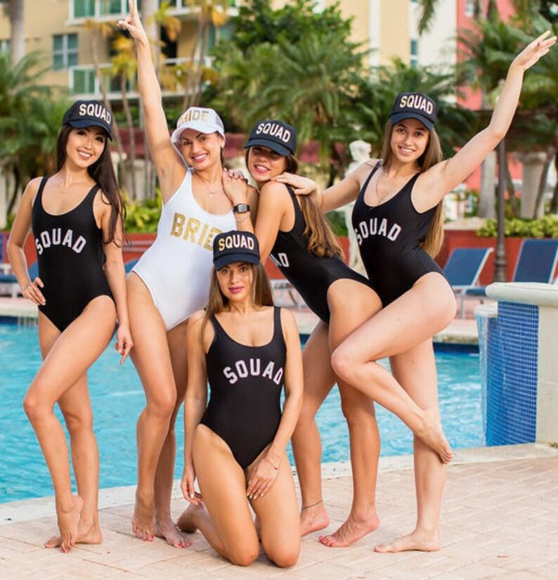 e1e267c4e8 Squad Swimsuit-One Piece Swimsuit-Bride Squad Bathing