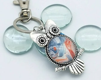 Painted Glass Pendant Owl Keychain. Orange White and Silver Owl Key Chain / Purse Fob / Key Ring. Acrylic Art Unique Key Chain