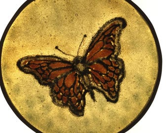 Monarch kiln fused stained glass Roundel