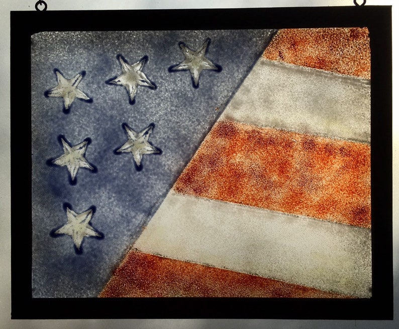 Fused glass U S Flag diagonal distressed wood frame