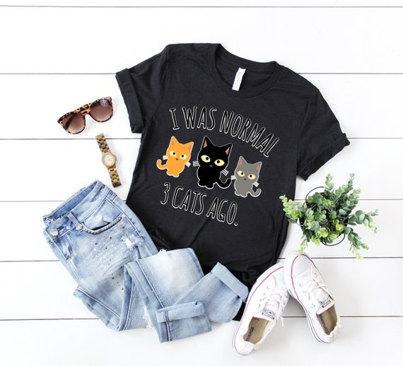 Mens I Was Normal 3 Cats Ago Tshirt Funny Crazy Kitty Lover Tee Heather Navy