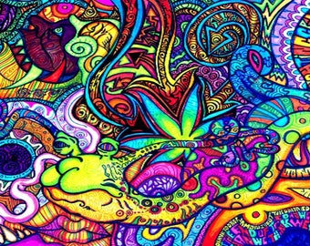 Supercool Psychedelic Trippy Art Fabric Poster Cute 77x56cm Or Any Size You  Want