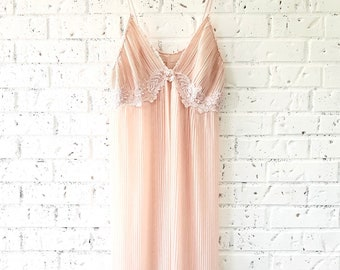 Vintage, Sheer, Pleated, Blush Nightgown