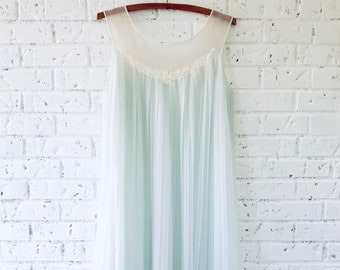 Vintage, Babydoll, Sheer, Pleated, Pale Blue Nightgown