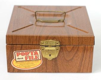 Woodgrain Metal Storage Box / Vintage Office Storage
