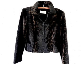 Women's Vintage Faux Fur Leopard Jacket