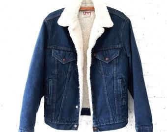 Vintage Levi's Denim Trucker Jacket with Shearling Lining