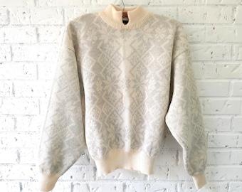 Women's 80s, 90s Ski Lodge Wool-blend Sweater  |  Metallic Silver Snowflakes
