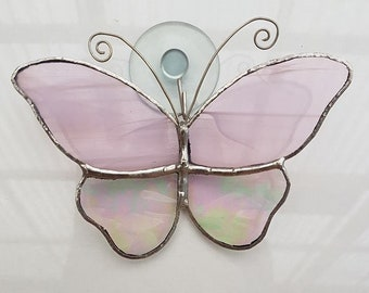 Leadlight Glass Pink/Rainbow Butterfly Suncatcher with suction cup