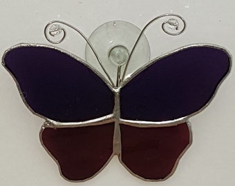 Light & Dark Purple Leadlight Butterfly Suncatcher with suction cup.
