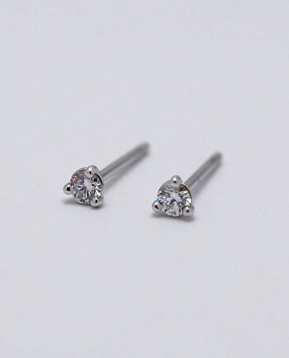 0cb2538dd Diamond Earrings / Tiny Diamond Studs / Genuine Diamonds in | Etsy