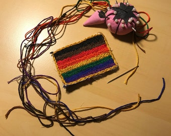 Hand Embroidered QTPOC Pride Flag Patch   Handmade QTPOC Pride Flag Patch
