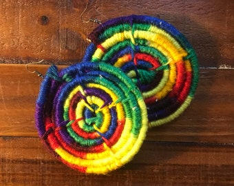 Rainbow Swirl Brass Hook Earrings