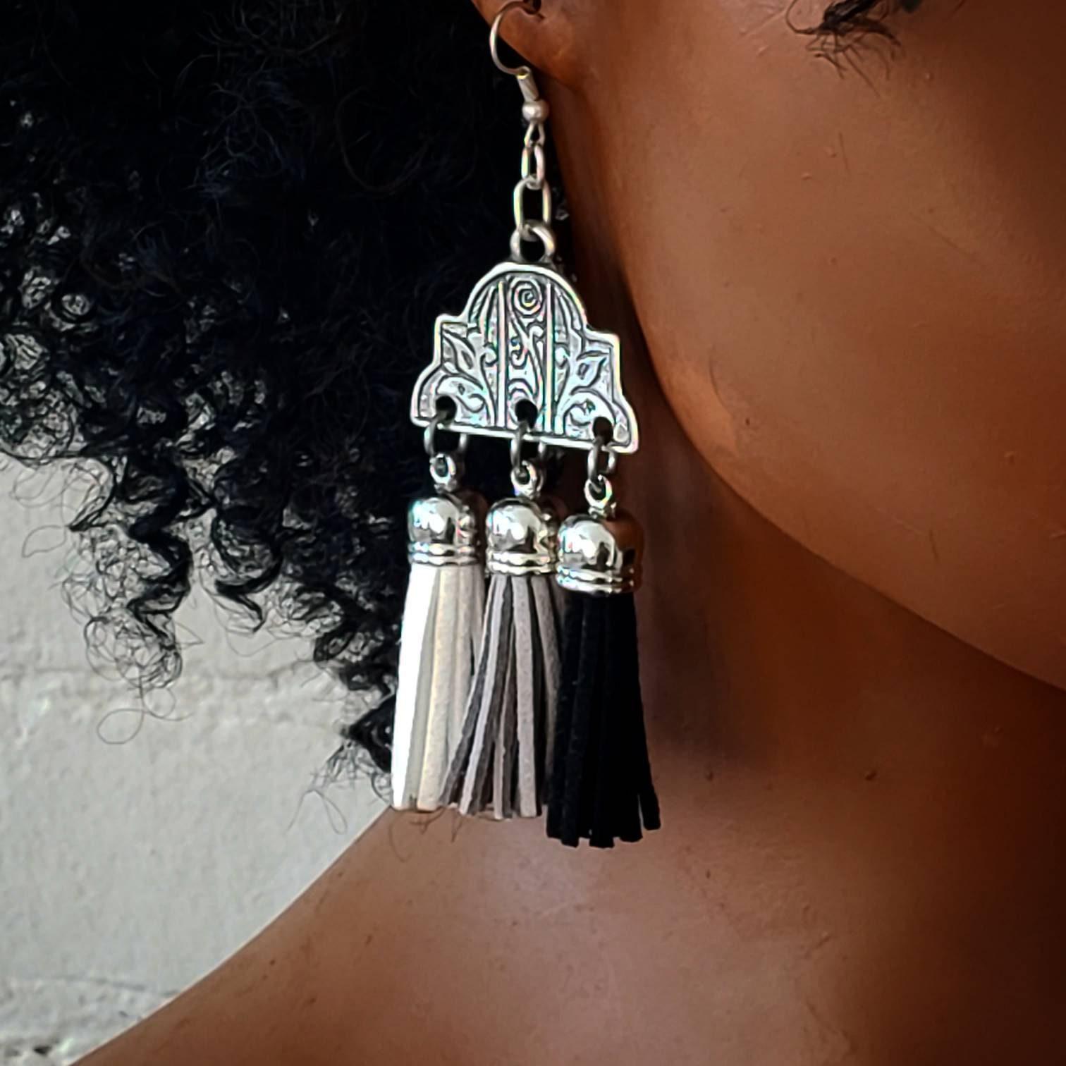 Antique Silver Plated Brass Tassel Earrings