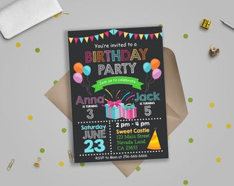Birthday Party Invitationjoint Invitations Double Invitation Joint Invite Instant Download Editable Text