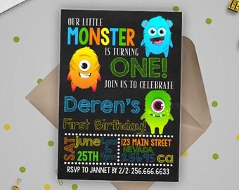 Monster Invitation, Monster Birthday Invitation, Monster Party, Little Monster First Birthday, Editable Monster invitation, Instant Download