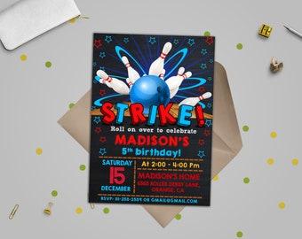 Bowling invitation, Bowling birthday invitation, , Bowling, Bowling party invitation, Bowling birthday, STRIKE, Bowling editable invitation