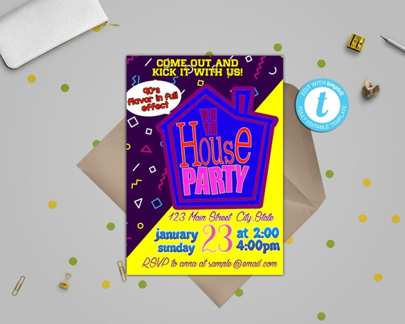 House Party Invitation 90s House Party Invitation House Party Flashback Birthday Invite Printable 1990s Throwback Party Invites Any Occasion