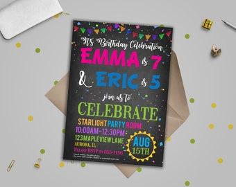 Joint birthday etsy birthday party invitationjoint birthday invitations double birthday party invitation joint party invite stopboris Choice Image