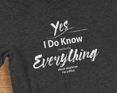 Pilot T Shirt I Know Everything About Airplanes Humorous Short-Sleeve  Jersey T-Shirt