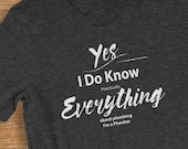 Plumber T Shirt I Know Everything About Plumbing Humorous Short-Sleeve  Jersey T-Shirt
