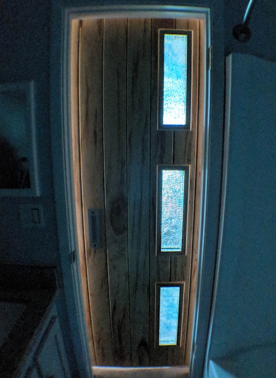 Mid Century Modern Sliding Barn Door | Modern Barn Door | Custom Barn Door  | Stained Glass Door