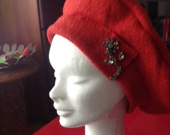 Red hand made BERET