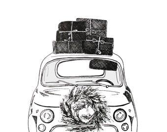 Christmas card Car