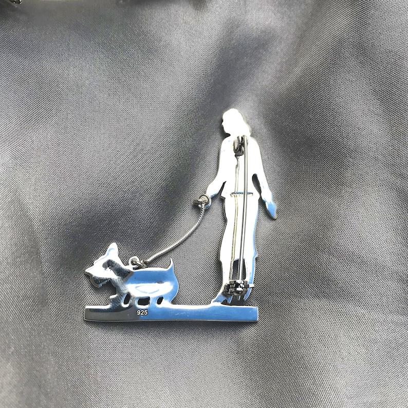 Silver Ruby Emerald Gemstone Dog Walking Brooch