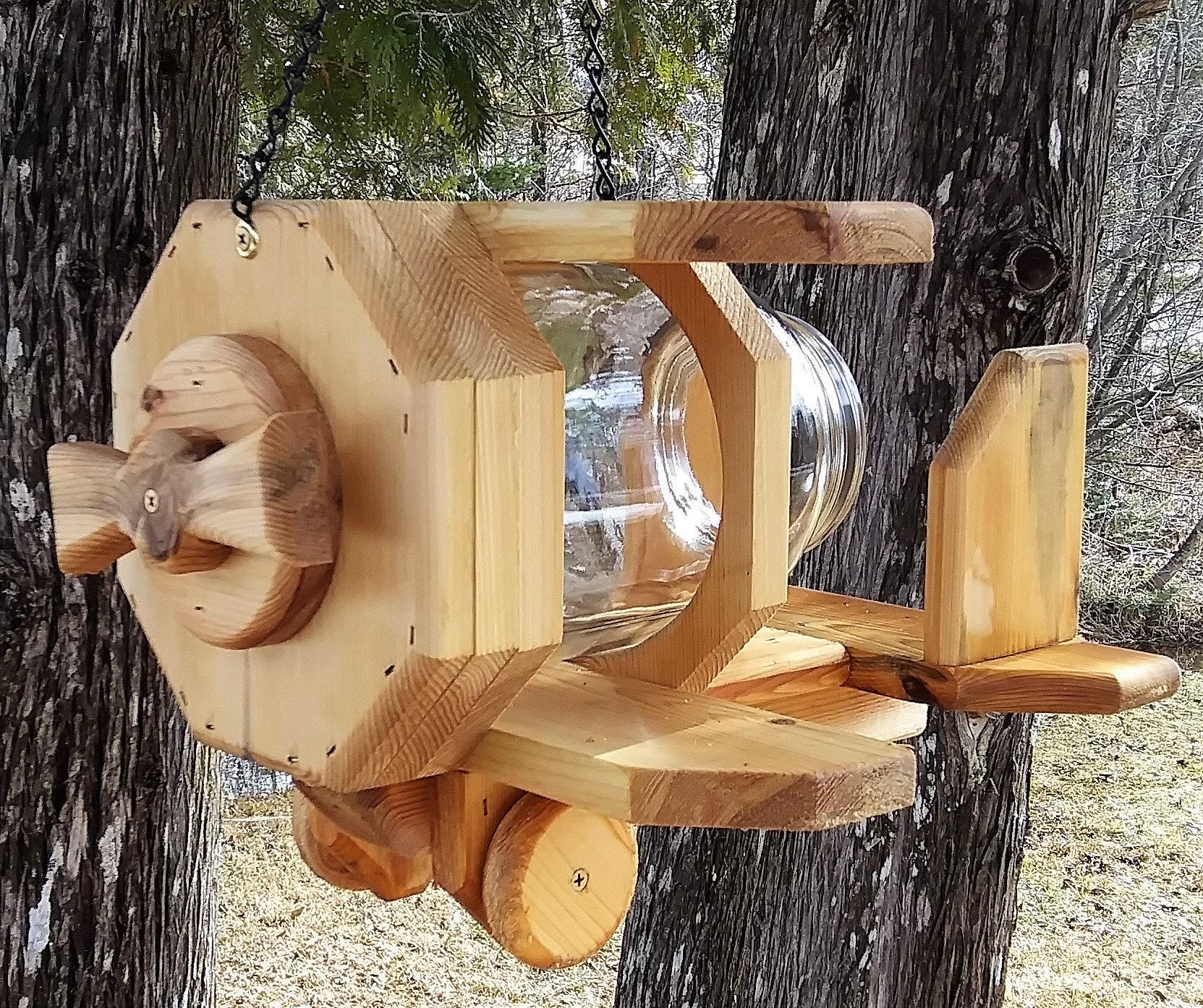 Dual Peanut Butter Fence Mount Cedar Wood Jar Squirrel Feeder