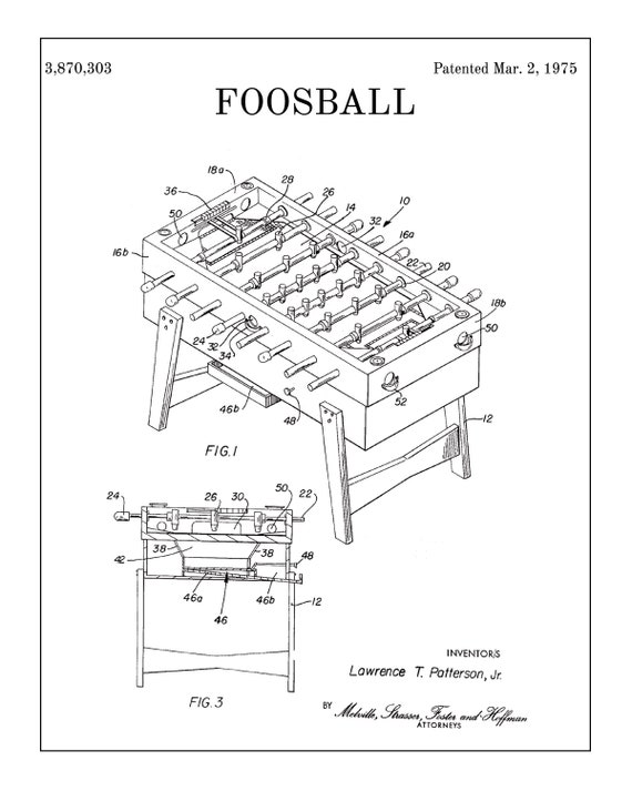 Foosball Art Foosball Patent Prints Foosball Patent Art