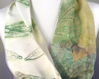 Willow Oak and Camellia Leaves Silk Infinity Scarf