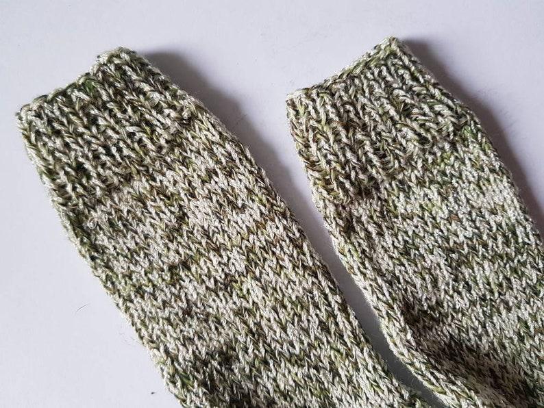 handmade Hand-knitted thick socks stockings green-white, sizes 22-25 and 40-43 knitting children socks socks for adults wool