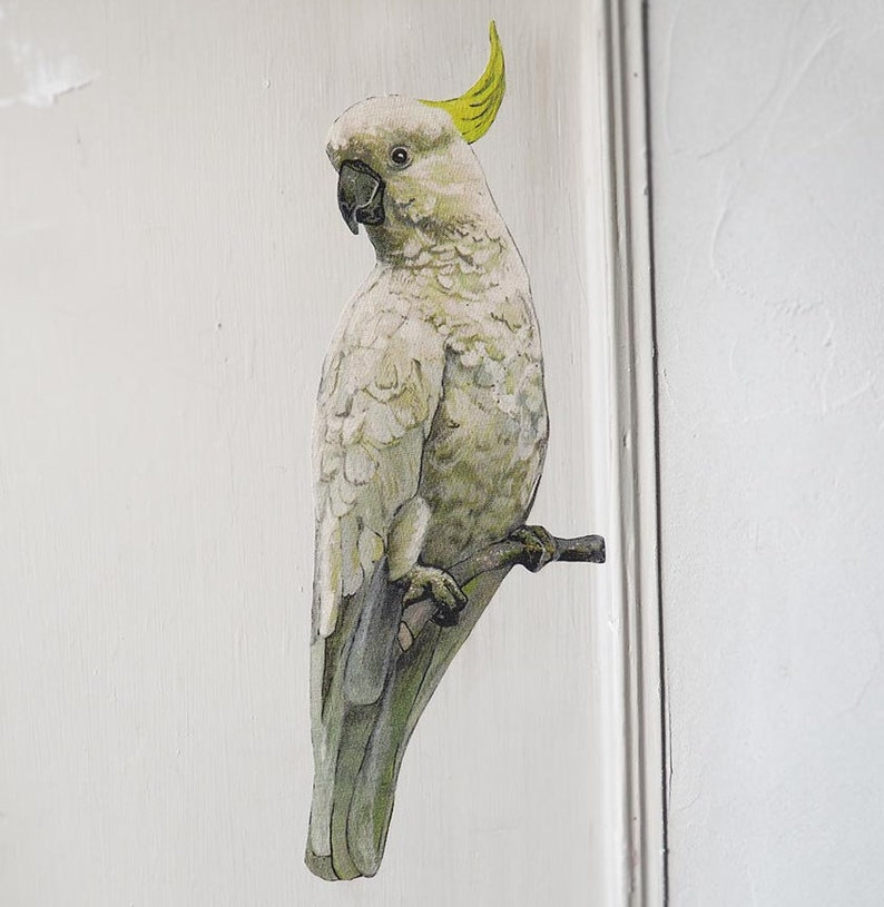 Cockatoo Sticker Real Size White Parrot Wall Decal Cute Animal Lover Watercolor Fabric Sticker