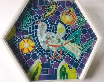 Handmade glass mosaic tray, original and unique